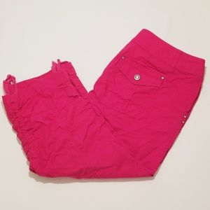 INC Pink Capri Pants Sparkly Buttons Hot Pink Cute